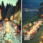 Tuscan wedding banquet in the garden at night