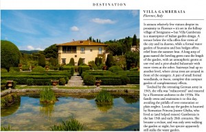 Villa Gamberaia in Harrods Travel Magazine 2015